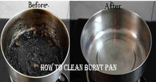how to clean burnt pan
